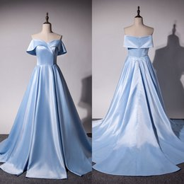 Wholesale Simple Elegant Formal Gowns - Cheap Real Image Prom Dresses 2018 New Off The Shoulder Elegant Simple A Line Evening Gowns Light Sky Blue Formal Party Dress