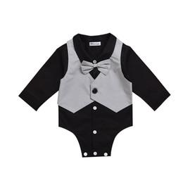 Tuta gentile online-3M-24M Black Baby Boys Divertente Body per gentiluomo con cravatta a farfalla