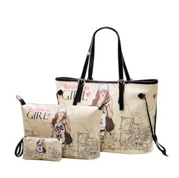 Wholesale Order Lady Purse - Purses and Handbags 3pcs set Letter Print Women Leather Handbags Fashion Girl Printed Women Messenger Bags Women Bag order<$18no track