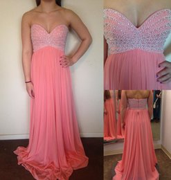 Wholesale Strapless Chiffon Dress Watermelon - 2015 Exquisited Pearls Beaded Sweetheart Long Prom Dresses Watermelon Strapless Draped A-line Chiffon Court Train Party Gown Evening Gowns