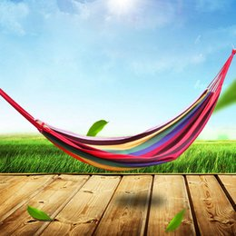Wholesale Colorful Hanging Swing - 185 x 80cm Portable Outdoor Hammock Garden Sports Home Travel Camping Swing Canvas Stripe Hang Bed Hammock colorful confortable