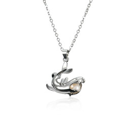 Wholesale Coral Pendant Jewelry - Charms 18kgp hollow dolphin-Shaped Shining Gems Pearl  Crystal  Coral Beads Cage Lockets Pendant necklaces for DIY Fashion Jewelry