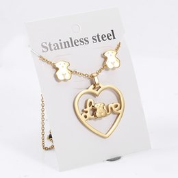 Wholesale Noble Set - TL Noble Designer Stainless Steel Bear Necklace Jewelry Set Love Brand Gold Pendant Necklace With Button Earrings