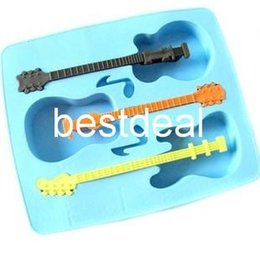 Wholesale Free Music Guitar - creative guitar three ice cubes molded ice mould ice cube tray guitar music mold silicone ice lattice products 2015 free shipping