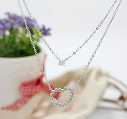 Wholesale Swarovski Snake Chain Wholesale - Fashion Lady Elegant Necklace Trendy Multi layer Crystal Heart Chain Necklace Made With Swarovski Elements Women Jewelry Lovers Gifts