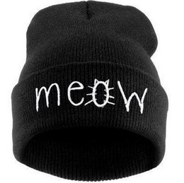 Wholesale Mens Sports Beanies - Designer Cat Meow Word Embroidery Knitted Acrylic Beanies Hats Sports Winter Warmer Hip Hop Caps Adults Mens Womens Black Grey Solid Colors