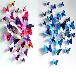 Wholesale Stick Butterflies Wedding - 2016 Butterfly decoration stereo simulation 3D wall stickers curtain fridge sticks 12Pcs lot for living room and wedding room