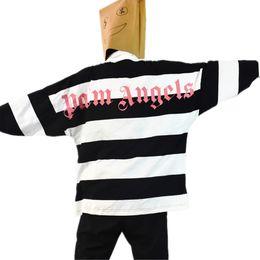 15e83f8c307 2017 Otoño polo hombres PALM ANGELS Logo Rugby Volver Letra impresa Solapa  de rayas Manga Larga POLO Camisa hombres hip hop casual oversize t shirt  hombres