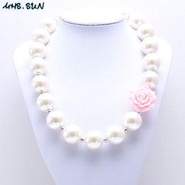 Wholesale wholesale pearl necklace for kids - MHS.SUN Shiny Pearl Beads Kid Chunky Necklace Pink Flower Fashion Bubblegum Bead Chunky Necklace Children Jewelry For Toddler Girls