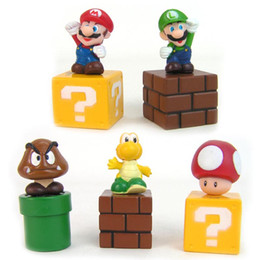 Wholesale Pvc Bundle - Super Mario Bros 5pcs set Mini Figures Bundle Blocks Mario Goomba Luigi Koopa Troopa Mushroom PVC Toys Doll