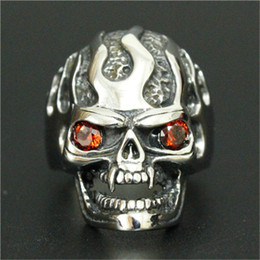 Wholesale Ghost Fire - 1pc Newest Design Ruby Eye Ghost Skull Ring 316L Stainless Steel Fashion Jewelry Men Boy Fire Flame Biker Skull Ring