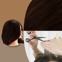 "Wholesale Training Hair Dummy - 23"" Long 90% Human Real Hair Hairdressing Training Model Brown Long Synthetic Hair Model with Clamp Dummy Head W2134"