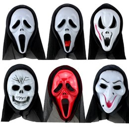 Wholesale horror film face masks - Terrorist Masks Halloween Horror Ghost Screaming Skeleton Halloween grimace mask Skull Mask Make up the party Wholesale Free Shipping 0068HW