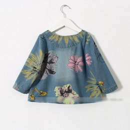Wholesale Girls Flower Cardigan Print - Girls Jeans Coats Spring Autumn Wear Children's Clothing Kids Denim Coat Flowers Printed Child Cardigan Outerwear Jeans Jacket Coat