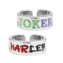 Canada Lettre Ouverture Couple Bague Suicidal Team Harley Quinn Joker Bague Fashion wear complice pour les amoureux livraison gratuite Offre