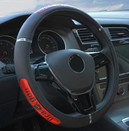 Wholesale Auto Leather Protector - Free Shipping Hot Sell Drangon Design Leather Auto Car Steering Wheel Cover 38CM 15'' Anti-catch Holder Protector