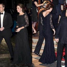 Wholesale Evening Dresses Kate Middleton - Long Sleeve Black Lace Evening Dresses Kate Middleton 2015 Celebrity Dress Red Carpet Dress Vintage Jewel Neck Evening Gowns Formal Dresses