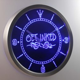 Wholesale Tattoo Signs Led - nc0303 Get Inked Tattoo Shop LUMINOVA Neon Sign Bar Beer Decor LED Wall Clock Free Shipping Dropshipping Wholesale