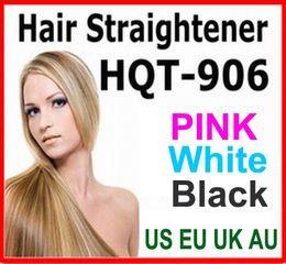 Wholesale Uk Electric Plugs - Hair Straightener Flat Iron HQT-906 Hair iron Straightening Brush Hair Styling Tool comb With LCD BLACK WHITE PINK US EU UK AU plug