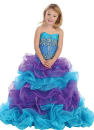 Wholesale Girl Ball Gown Skirts - Ball Gown Blue Purple Pageant Dress For Little Girls Beaded Pick-up Skirt Organza Long Kids Formal Gown pageant Dress Custom Made