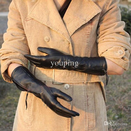 Wholesale Womens Lambskin Leather - Wholesale-Fashion gloves 2015 winter womens gloves elbow genuine leather gloves lambskin solid black long cycling gloves L031NQ