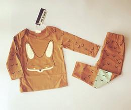 Wholesale Wholesale Plus Pajamas - Boy fashion MR.BAMBI INS fox Pajamas Suits 2016 new children long sleeve T-shirt+ trousers 2 pcs plus sign Suit baby clothes B001