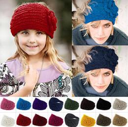 Wholesale Headband Scarf Crochet - 2015 Women Crochet Headband Knit hairband Flower Winter Ear Warmer Headwrap Handmade Hair Headbands Empty Hats Scarf-DW236