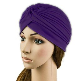 Wholesale Top Hat Head Bands - Fashion Stretchy Turban Head Wrap Band Chemo Bandana Hijab Pleated Indian Cap warm Hat colorful