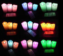 lampe de lune jaune Promotion Changement de 12 LED couleur LED sans flamme sans fumée bougie bougie télécommande