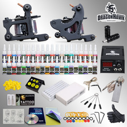 Wholesale Tattoo Hw - Best Tattoo Kit needles 2 Machine Guns Power Supply 40 Color Inks HW-10GDD-1