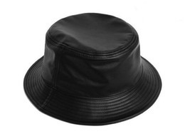 Wholesale Brown Bucket Hat - PU Leather Bucket Hat Solid Color Comfortable Crushable Fishman Cool Caps Free Shipping