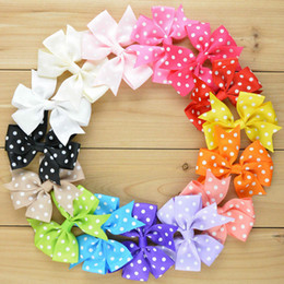 Wholesale Grosgrain Ribbon Polka - 100pcs Lot Grosgrain Polka Dot Ribbon Bow For Headband Boutique Hairbows Baby Girls Hair Accessorise Free Shipping