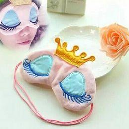 Wholesale Cute Sleeping Masks - 2016 New Portable Lovely Cute Cotton Long Eyelashes Crown Style Eye Shade Sleeping Eye Mask 2 ccolor optional