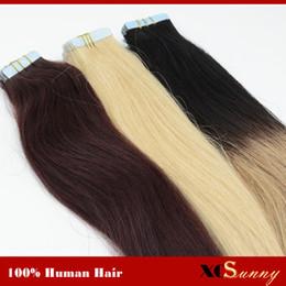 Pelo virgen indio grabado online-XCSUNNY Stock Indian Virgin Tape Extensión del cabello humano Recto 100g 18inch 20inch Cinta en extensiones de cabello humano