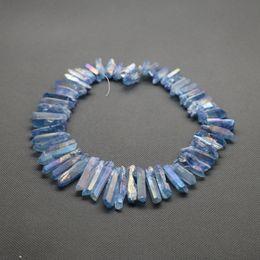 Wholesale Blue Quartz Point - 1 Strand(56pcs) Titanium Crystal Quartz Rock Crystal, Raw Freeform Spikes Points Drilled Briolettes, 15.5 Inch Rainbow Blue Women Necklace
