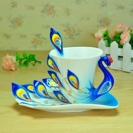 Wholesale Enamel Peacock Cup Set - Wholesale-1 Set Unique Peacock Shape Enamel Porcelain Coffee Cup Saucers Spoon 5 Colors Coffee set Foam Box Packing Coffee Mug