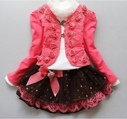 Wholesale Long Skirt Coats - 2016 (flowers coat + shirt + lace skirt) girl suit lace baby fashion clothes TUTU dress children three set free shipping