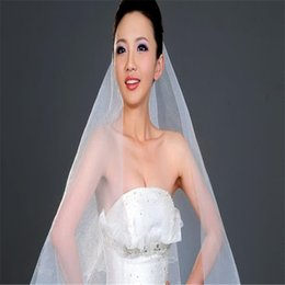 Wholesale White Bat Flower - Wedding Veil White Ivory Bat Type Bridal Veil High Quality Double Ribbon Wrapping Elbow Satin Edge Veil With Comb Package Side Birdcage Veil