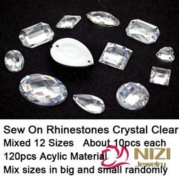 Wholesale Wholesale Crystal Flatback - Wholesale-Sew On Rhinestones Mixed 12 Shapes 120pcs Flatback Acrylic Rhinestones Crystal Clear Stone For Dress Making Sew On Rhinestones