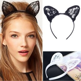 Wholesale Head Bands For Women - 2017 Hot Lady Gaga Lace Cat Ear Headbands Sweet Women's Accessory Cute Hair Bands Cosplay Head Wear Party Casual Hairwear Black White