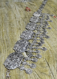 2019 metall quasten großhandel Wholesale-New Ankunft Gypsy Silber Metall Breite Hippie Boho Blume Türkische Münze Quaste Erklärung Böhmischen Gürtel Tanz Körper Kette Schmuck günstig metall quasten großhandel