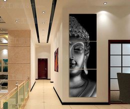 Wholesale Modern Buddha Oil Painting - Free shipping 3 Panel Modern Buddha Print Painting Picture On Canvas living Room Decor Landscape painting With Frame T 738