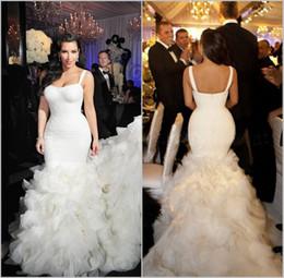 Wholesale Kim Kardashian White Dress Cheap - Kim Kardashian Wedding Gowns 2017 Spaghetti Strap Long Train Mermaid Wedding Dresses Plus Size Cascading Ruffles Lace Bridal Dress Cheap