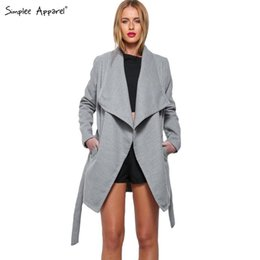 Wholesale Camel Poncho Coat - Wholesale-Simplee Apparel women autumn winter grey camel capes coat poncho with belt Female warm wool blend long cloak manteau femme women