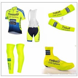 Wholesale Shoes Cover Cycling Xl - hot Tinkoff Saxo Cycling Jersey Set Short Sleeve Bib Padded Pants Cycling Clothing With Bib Set & Arm & Leg & Shoes Cover Fluo Yellow Sui