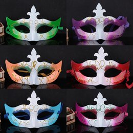 Wholesale blue party powder - Halloween Colorful Women Mask Gold Powder Half Face Venetian Dancing Mask Cosplay Costume Accessories Masquerade Party Supplies 20pcs SD344