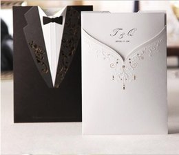 Wholesale Wedding Invitation White Design - New Arrival Personalized Design White The Bride and Groom Dress Style Invitation Card Wedding Invitations Envelopes Sealed Card Top Quality
