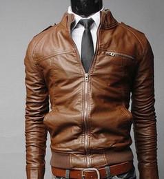 Wholesale Hot Mens Leather Pu Coat - Fashion Men's Coat Suit PU Leather Jacket Man Products Mens Transverse Slim Leather Jackets For Men 3 Color Plus Size M-XXXL Hot Sale