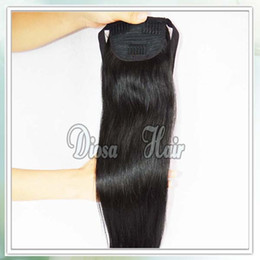 Wholesale Human Hair Straight Drawstring Ponytail - 7A Brazilian virgin Human Hair Drawstring Ponytail Natural Color 100% Human Hair Ponytail 100g Extensions Free Shipping