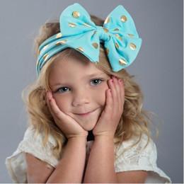 Wholesale Baby Aqua - Baby Bow Cotton Headwrap ,Aqua Gold Polka Dot Messy Bow Baby Girls headband ,Toddler infant girls headband